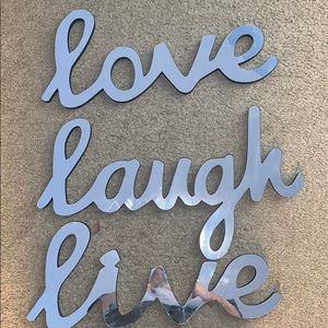 Other - Live laugh love mirror words